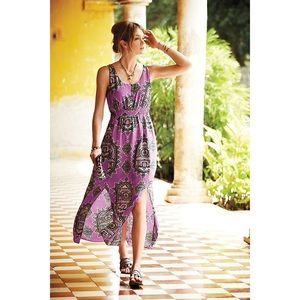 Anthro Maeve 100% Silk Maxi Dress Purple Motif